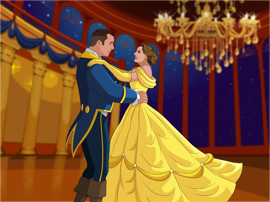 Beauty and the Beast Style Hand Drawn Portrait