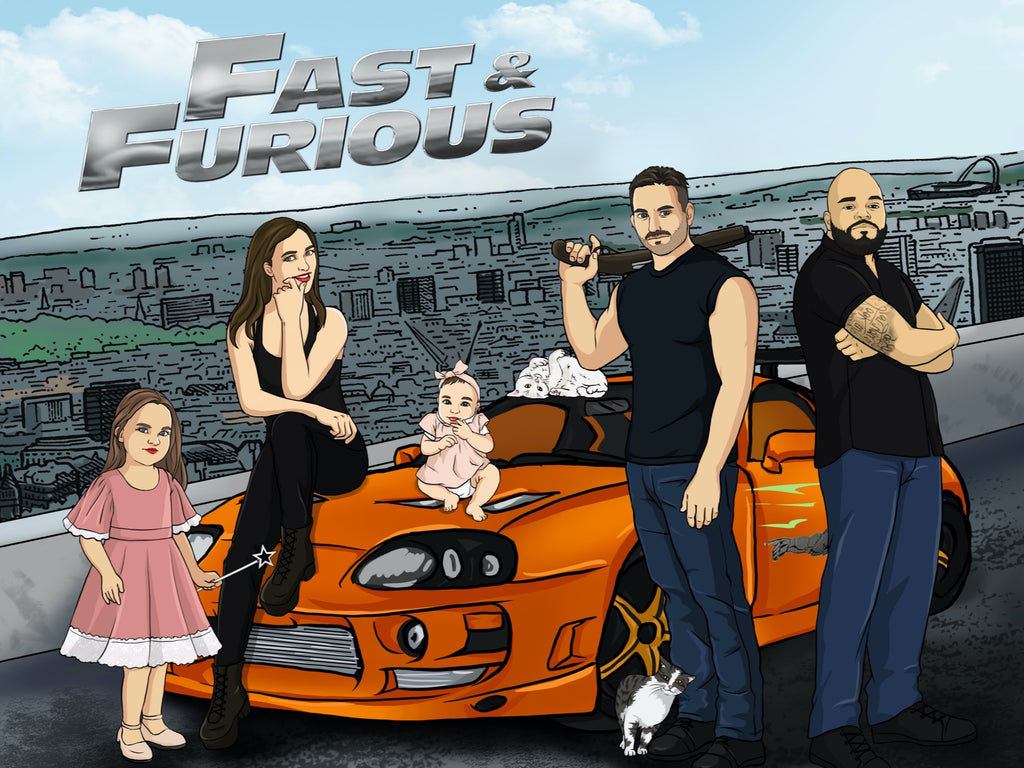 Fast and Furious Style Hand Drawn Portrait