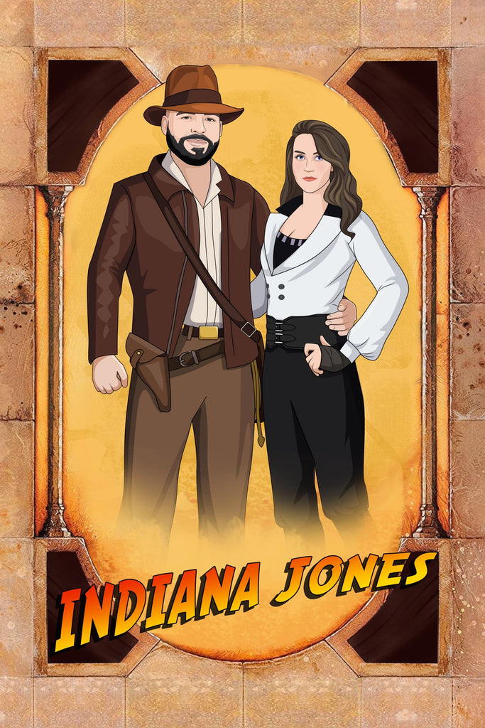 Indiana Jones Fan Art Style Hand Drawn Portrait