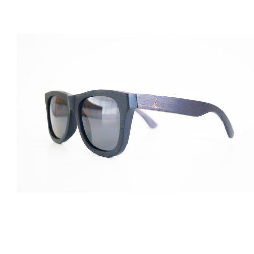 Dark wooden sunglasses with black polarized lenses