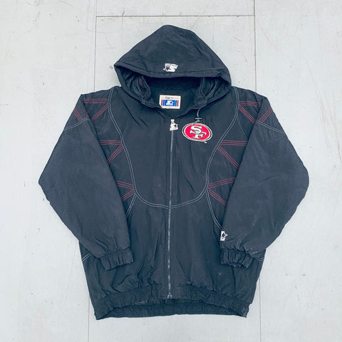 San Francisco 49ers: 1990's Blackout Fullzip Starter Jacket (XXL)