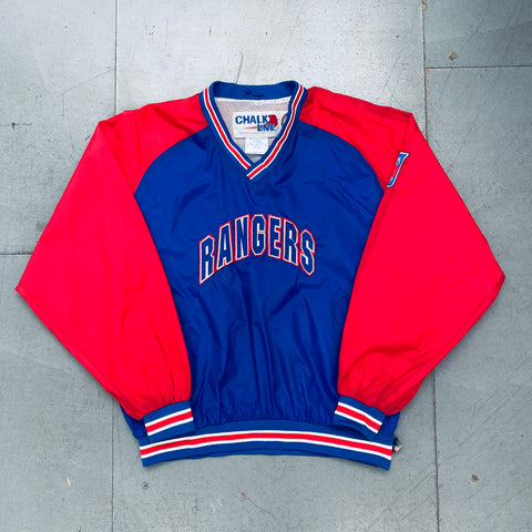 New York Rangers: 1990's Chalk Line Embroidered Spellout Rink Side Jacket (L)