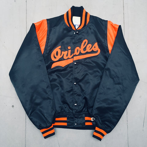 Baltimore Orioles: 1990's Stitched Spellout Starter Satin Bomber (L)