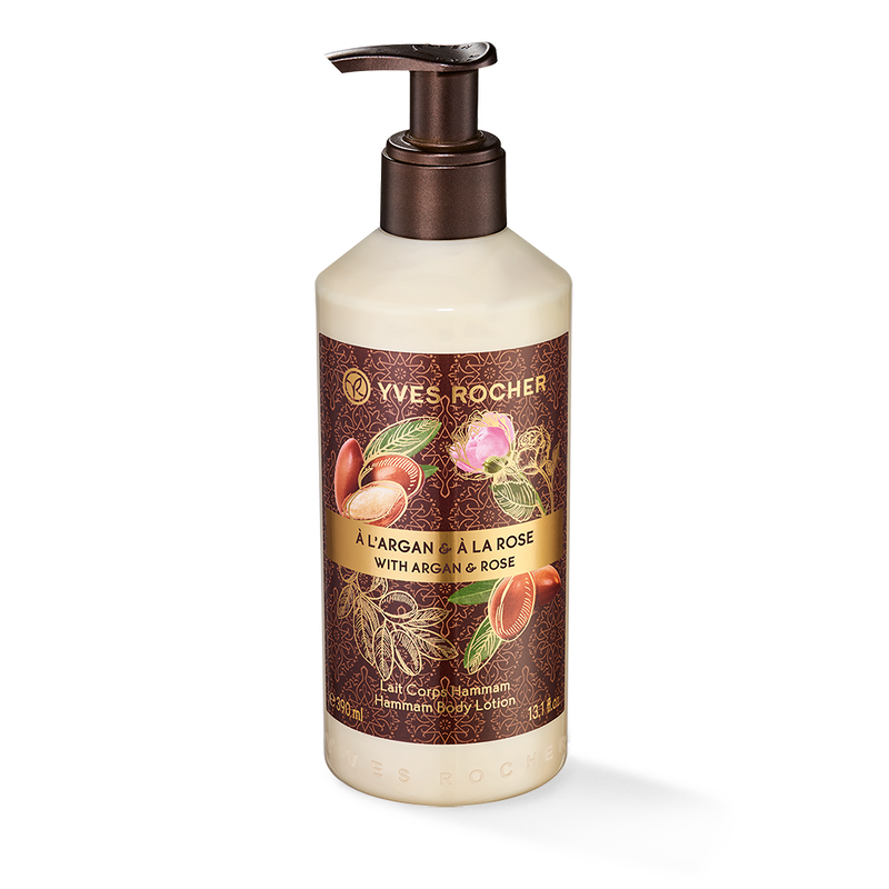 The pleasure of moisturizing lotion with oriental notes inspired by a Turkish bath.