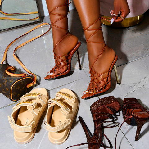 Chunky summer sandals and lace up summer heels