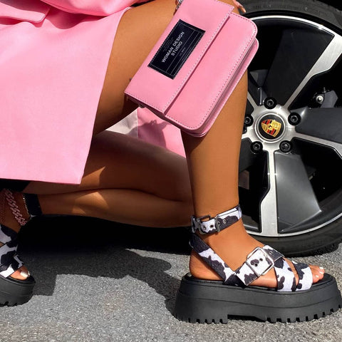 Follow cow print chunky sandal