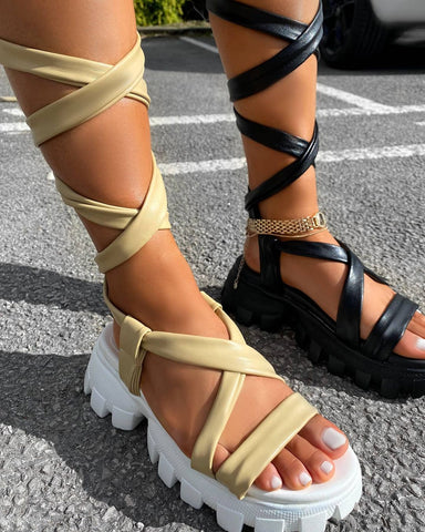 Friction chunky tie up sandals