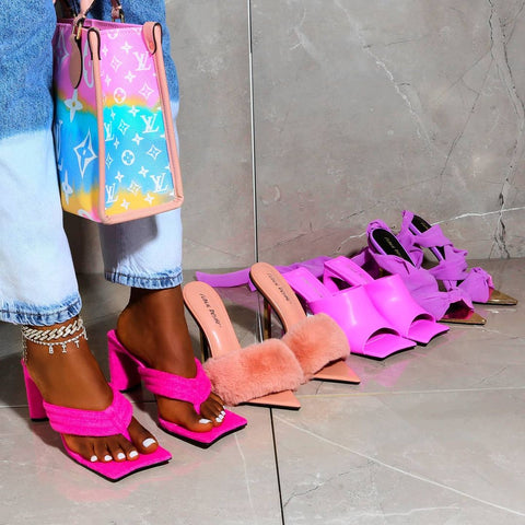 Pink resort heeled mules