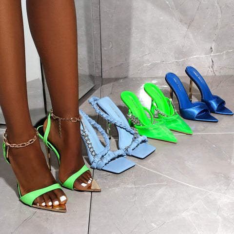 Summer high heels in bright vibrant colours