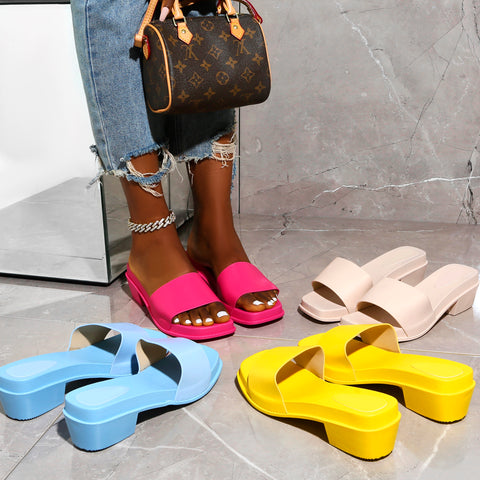 Summer colourful sandals in bright colours