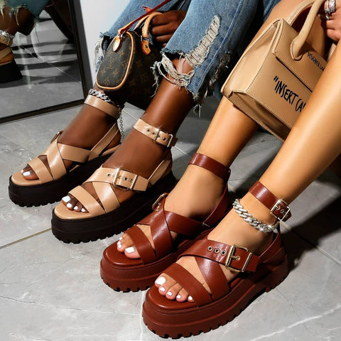 Follow chunky tan sandals