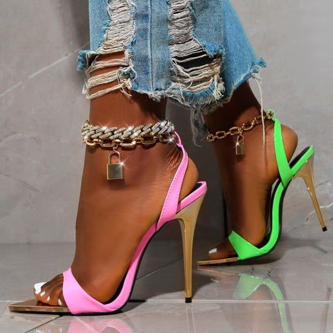 Summer pink and green high heels with lock chain detail