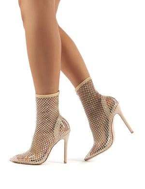 Diamond Nude Diamante Fishnet Stiletto High Heels