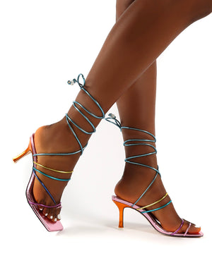 Cabo Multi Wide Fit Strappy Lace Up Square Toe Mid Heels