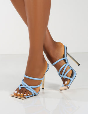 Coincidence Blue Strappy Square Toe Metallic Stiletto Heels