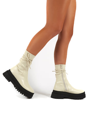 Finale Cream Chunky Sole Ankle Wrap Boots