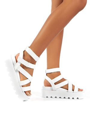 Motion White Chunky Strappy Platform Sandals