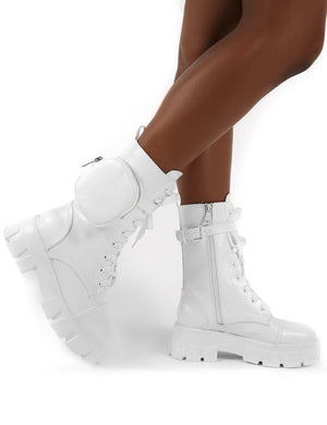 Intention White Chunky Sole Pouch Ankle