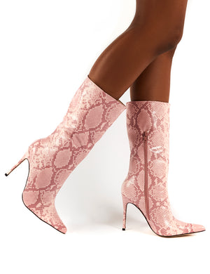 Mystic Pink Snake Knee High Stiletto Heel Boots