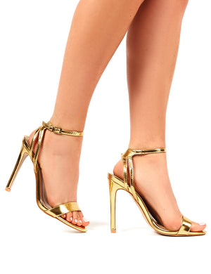Runaway Gold Barely There Strappy Heel