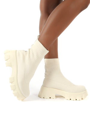 Trust Ecru Chunky Platform Sole Sock Ankle Boots