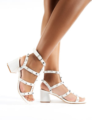 Always Studded Strappy Block Heels in White