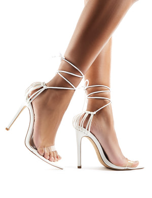 Isla Perspex Lace Up Heels in White
