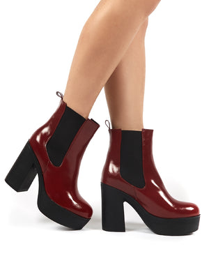 Lacey Burgundy PU Chelsea Boot Heels