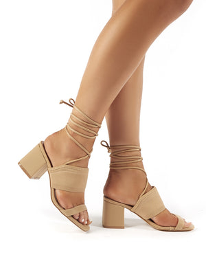 Maddie Nude Lace Up Mid Block Heels