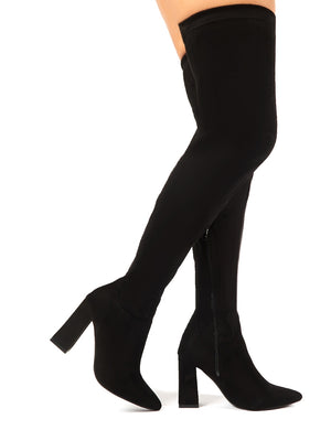 Rapture Over the Knee Boots in Black Faux Suede