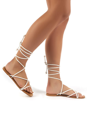 Sunset White Strappy Gladiator Lace up