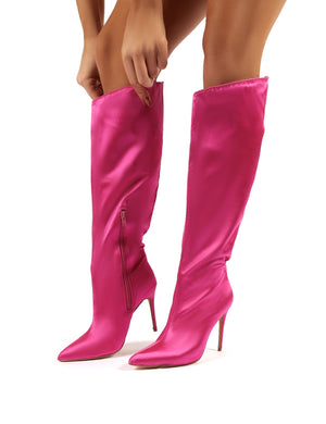 Thriller Hot Pink Satin Stiletto Heeled Knee High Boots