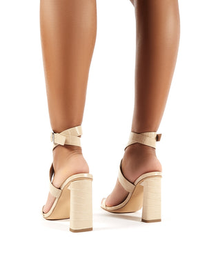 Lydia Nude Croc Wrap Around Heels