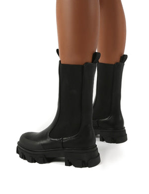 Boston Black Wide Fit Calf High Chunky Sole Boots