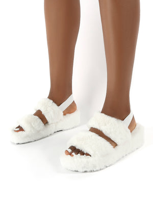 Dawn White Strap Back Faux Fur Fluffy Slippers