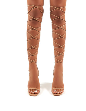 Dazed Nude PU Barely There Strappy Stiletto High Heels