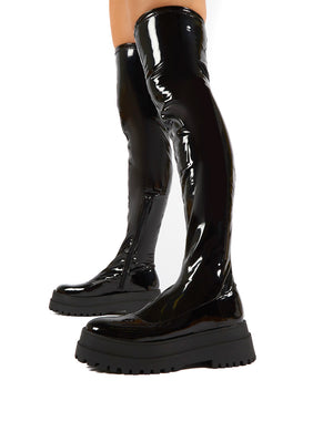 Disclosure Black Patent Over The Knee Thigh High Chunky Boots