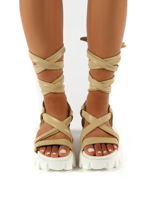 Friction Nude PU Chunky Sole Lace Up Sandals