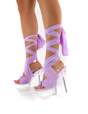 Secrets Lilac Platform Ribbon Tie Wrap Around Ankle Heels