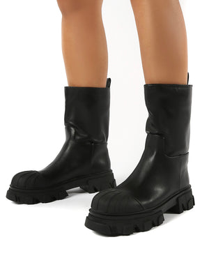 Showdown Black Calf High Chunky Sole Boots