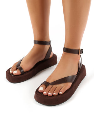 Think Choc PU Toe Strap Buckle Detail Sandals