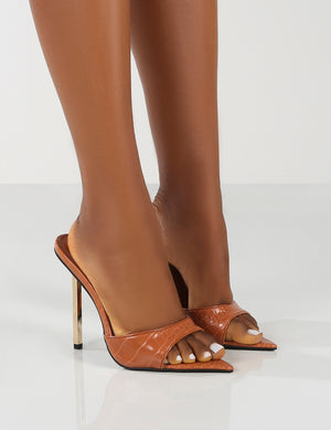 Powerful Wide Fit Tan Croc Metallic Stiletto Heels