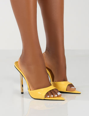 Powerful Wide Fit Yellow Croc Metallic Stiletto Heels