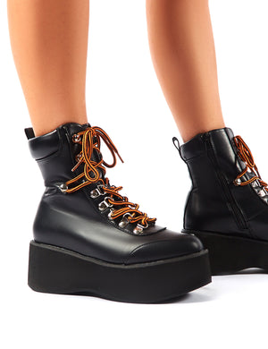 Willow Black Flatform Lace Up Ankle Boots
