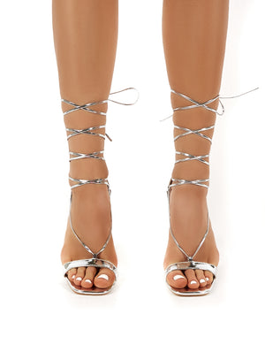 Frankie Silver Mirror Lace Up Block High Heels