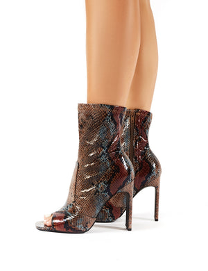 Mystery Natural Snakeskin Peeptoe Sock Fit Ankle Boots