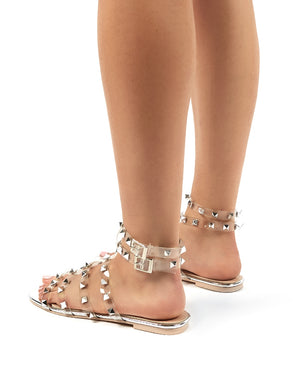 Publicity Wide Fit Clear Stud Detail Strappy Flat Sandals