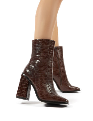 Slick Chocolate Croc Square Toe Block Heeled Ankle Boots