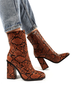 Slick Tan Snakeskin Square Toe Block Heeled Ankle Boots