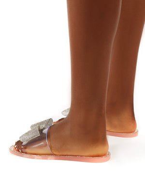 Bobbie Blush Perspex Diamante Detail Bow Flat Sandals